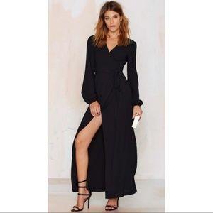 NWT Nasty Gal Black Wrap Dress Size XS